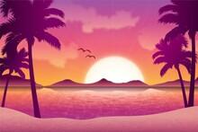 Gradient Beach Sunset Landscape Background_3
