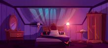 Luxury Bedroom Interior On Attic At Night