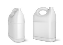 Plastic Canisters, White Jerrycan Isolated Bottles
