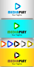 Media Player Logo Template With Different Color Variation.