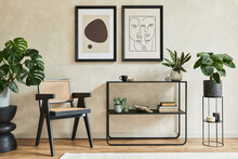 Creative Composition Of Stylish Modern Living Room Interior With Two Mock Up Poster Frames, Black Geometric Commode, Armchair, Leaf In Vase And Personal Accessories. Neutral Colors. Template.