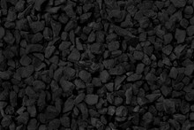 Close Up Of Black And Grey Gravel In The Garden, Natural Small Stones Texture Background.