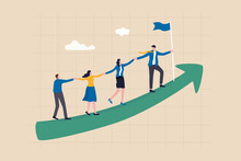 Teamwork Cooperate Together To Achieve Target, Leadership To Build Team Walking Up Rising Growth Arrow, Career Development Concept, Businessman Leader Holding Hand With Employee Walking Up Arrow Graph