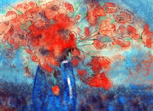 Red Poppies In A Blue Vase. Still Life In The Impressionistic Style. Painting For The Interior In The Technique Of Watercolor Stains.