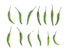 Chili Peppers With Sliced Green Chili Peppers Isolated On White Background. Hot And Spicy Food. Vegetable. Seasoning Ingredient.