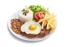Prato Executivo Bife De Alcatra Com Arroz, Feijão, Salada, Batatas Fritas E Ovo Frito E Isolado Com Path