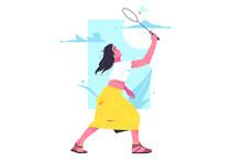 Girl Amateur Badminton Player With Racket