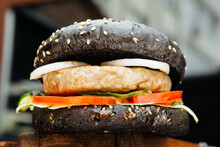 Juicy Burger With Filling, Cheese, Meat