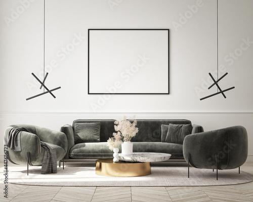 Fotografía mock up poster frame in modern interior background, living room, minimalistic st