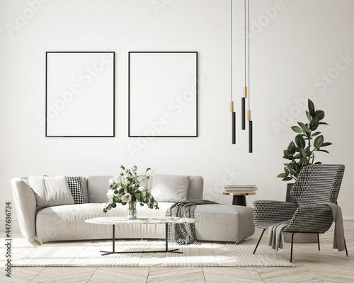 mock up poster frame in modern interior background, living room, minimalistic st Fototapet