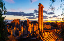 Picturesque View Of The Illuminated Ruins Of The Temple Of Apollo, An Ancient Greek Sanctuary In Didim At Dusk, Aydin Province, Turkey