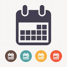 Calendar Icon On Dot Pattern Background