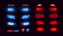 Car Headlights Bar, Led Automobile Light Vector Illustration Set. Realistic Auto Lights Front View Collection With Glowing Effect In Night, Bright Red Blue Lamps On Vehicle Bumper, Black Background