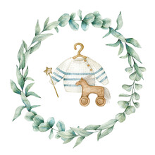 Watercolor Illustration Card With Eucalyptus Wreath, Baby Sweater, Toy Horse And Wooden Star. Isolated On White Background. Hand Drawn Clipart. Perfect For Card, Postcard, Tags, Invitation, Printing,
