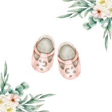 Watercolor Illustration Card With Floral Composition And Pink Baby Shoes. Isolated On White Background. Hand Drawn Clipart. Perfect For Card, Postcard, Tags, Invitation, Printing, Wrapping.