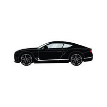 Ford Mustang. View From Side With Perspective, Vector Illustration.