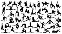 Set Ballet Dancer Woman Silhouettes Vector Illustration Black And White