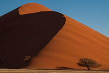 Dunes Of Soussuvlei Salt Pan In Namib-Naukluft National Park, A Popular Travel Destination In Namibia, Africa.