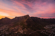 View Of Table Mountain From Lion's Head During A Dramatic Sunset In Cape Town, South Africa.
