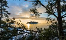 Unknown Little Island In Sunset , Lake Vänern In Sweden
