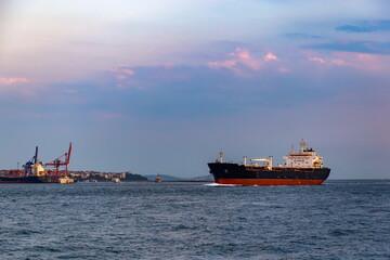 A cargo ship in the Bosphorus, Istanbul, Turkey.