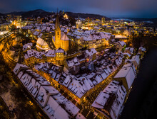 Aerial View Of Snow-capped Roofs Of Historic Town Of Baden, Switzerland