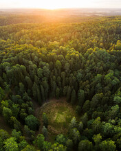 Aerial View Of Devil's Pit Geological Natural Monument In Lithuania