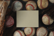 Top View Of Old Vintage Baseballs With Grunge Texture And Note With Copy Space For Sports Game.