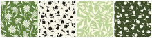 Set Of Four Green And Beige Floral Patterns With Flowers And Leaves. Vector Seamless Backgrounds.