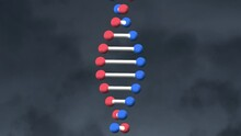 Digital Animation Of Dna Structure Spinning Against Textured Grey Background