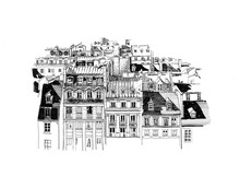 Drawing Graphics Paris Roof. Is Perfect For Interior Print Decoration, Postcard, Fabric, Sketchbook Cover.