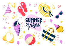 Bright Colorful Beach Items And Text.