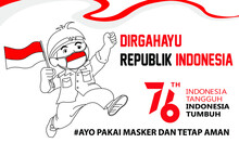 Banner Celebrating The 76th Independence Of The Republic Of Indonesia