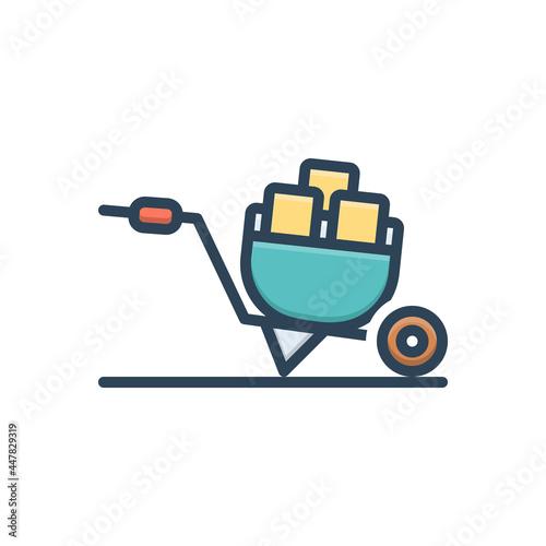 Photo Color illustration icon for wheel barrow