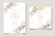 Soft floral and leaves wedding invitation card design