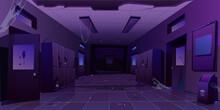 Abandoned School Hallway Interior, Night Corridor