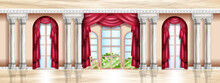 Vector Rich Palace Interior, Castle Room Background, Luxury Ballroom, Marble Floor, Stone Columns, Arch. Royal Baroque Window Entrance, Architecture Gallery Hall, Art Museum. Classic Palace Interior