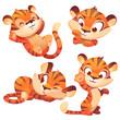 Cute tiger cub cartoon character, funny animal