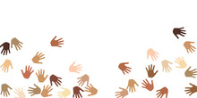 Woman And Man Hands Of Different Skin Color Silhouettes. Teamwork Concept.