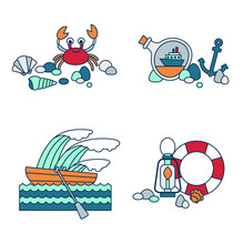Set Of Four Nautical Themed Colorful Icons. Boat, Crab, Anchor, Seashells And More. Vector Illustration