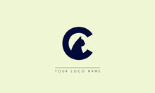 Initial Letter C  Negative Space With Head Cat Logo Icon Design