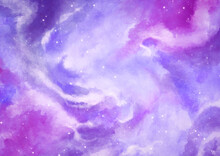 Purple Stellar Sky Watercolor Background Wallpaper