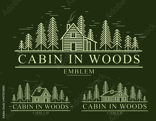 Murais de parede Cabin in woods with pine trees linear vector nature emblem on dark, log cabin cottage for rest, holidays and vacations theme line art drawing, woodhouse resort logo