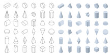 Set Of 3d Basic Geometric Shapes. Isometric Shapes For School And Math. Isolated Vector Illustration On White Background.