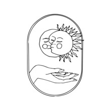 Vintage Mystic Sun And Moon Kissing Illustration With Decorative Border And Female Hand