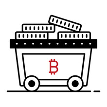 Btc With Minecart Vector Icon Design, Business And Management Symbol, Banking And Finance Sign, ECommerce And Blockchain Stock Illustration, Crypto Currency Mining Concept,