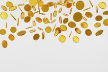 3d Gold Coin Falling Jackpot On White Background Illustration