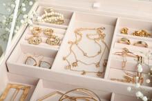Different Elegant Bijouterie In Pink Jewelry Box, Closeup