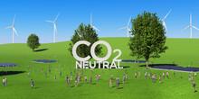 爽やかな草原に建つ立体的なシンボルと群衆の3Dレンダリンググラフィックス / 脱炭素社会・カーボンニュートラル・再生可能エネルギー・サステナブルのコンセプトイメージ