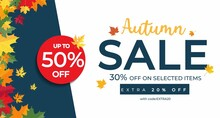 Autumn Sale Banner Template With Colorful Maple Leaves. Fall Seasonal Shopping Design Template For Flyer, Brochure, Poster, Voucher. Flat Style Vector Illustration.